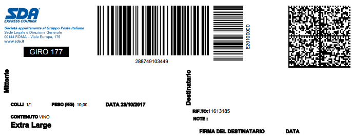 etichetta di spedizione sda
